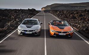 Bureaubladachtergronden BMW Wegen Twee 2 Snelheid Vooraanzicht 2018 i8 Auto