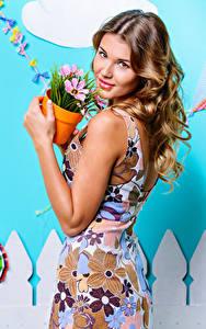 Fonds d'écran Aux cheveux bruns Voir Les robes Pot de fleurs jeune femme