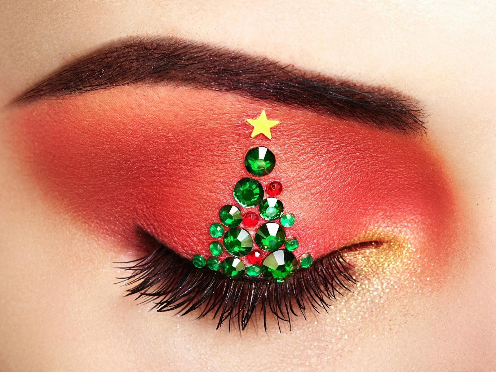 Images Eyelash lash Makeup New Year tree Closeup 1600x1200