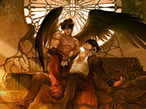 Fotos Engeln Tekken Junger Mann 2 Flügel Sitzen Fanart Jin Kazama, Devil Jin Spiele Fantasy
