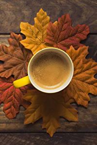 Fotos Herbst Kaffee Bretter Blatt Tasse Lebensmittel