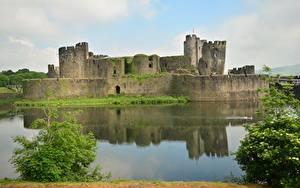 デスクトップの壁紙、、城、池、廃墟、イギリス、Wales, Cardiff, Castle Caerphilly、