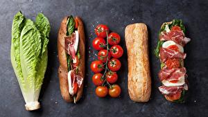 Hintergrundbilder Fast food Sandwich Brötchen Schinken Tomate Kohl Grauer Hintergrund Lebensmittel