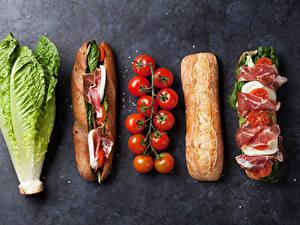 Hintergrundbilder Fast food Sandwich Brötchen Schinken Tomate Kohl Grauer Hintergrund