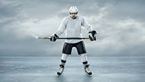 Picture Hockey Man Ice Helmet Uniform