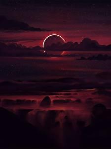 Desktop hintergrundbilder Himmel Nacht Wolke Mond Natur