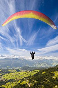 Hintergrundbilder Himmel Hügel Flug Paragliding sportliches
