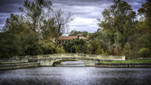 Bilder USA Park Flusse Brücken Herbst HDR Bäume Forest Park St. Louis Natur