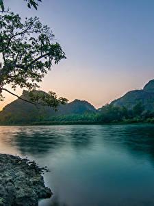 Bilder Vietnam Flusse Abend Gebirge Landschaftsfotografie Ast