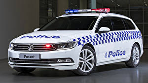 Wallpapers Volkswagen Tuning White Police 2019 Passat Proline 132TSI Police Wagon