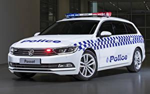 Wallpapers Volkswagen Tuning White Police 2019 Passat Proline 132TSI Police Wagon