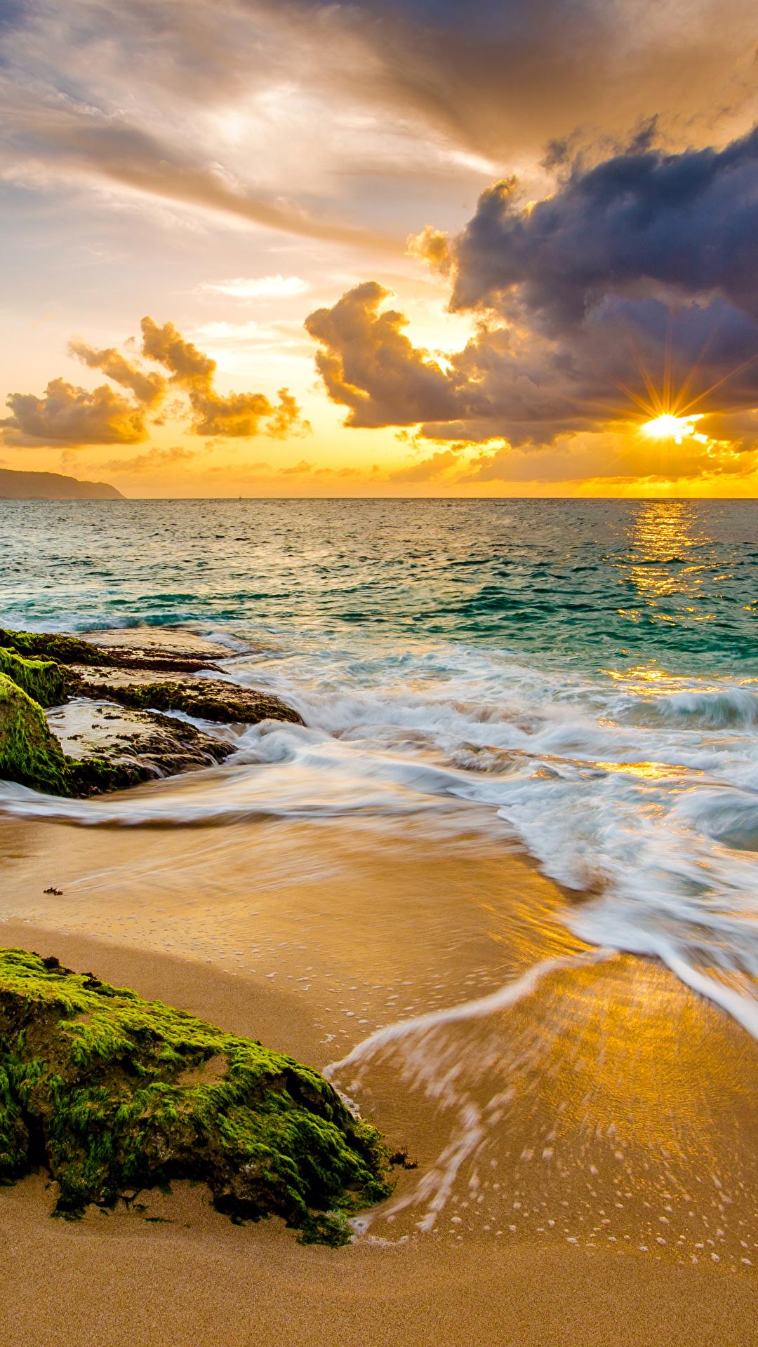 Foto Hawaii USA Strand Ozean Natur Wasserwelle Landschaftsfotografie Sonnenaufgänge und Sonnenuntergänge Küste Laubmoose Wolke 1080x1920 für Handy Vereinigte Staaten Strände Morgendämmerung und Sonnenuntergang