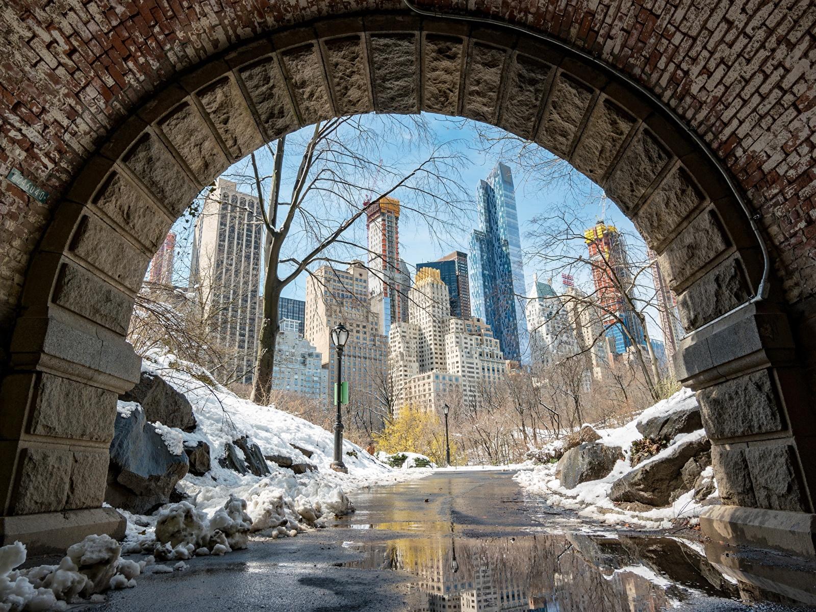 Photo Manhattan New York City USA Snow Pavement Cities 1600x1200