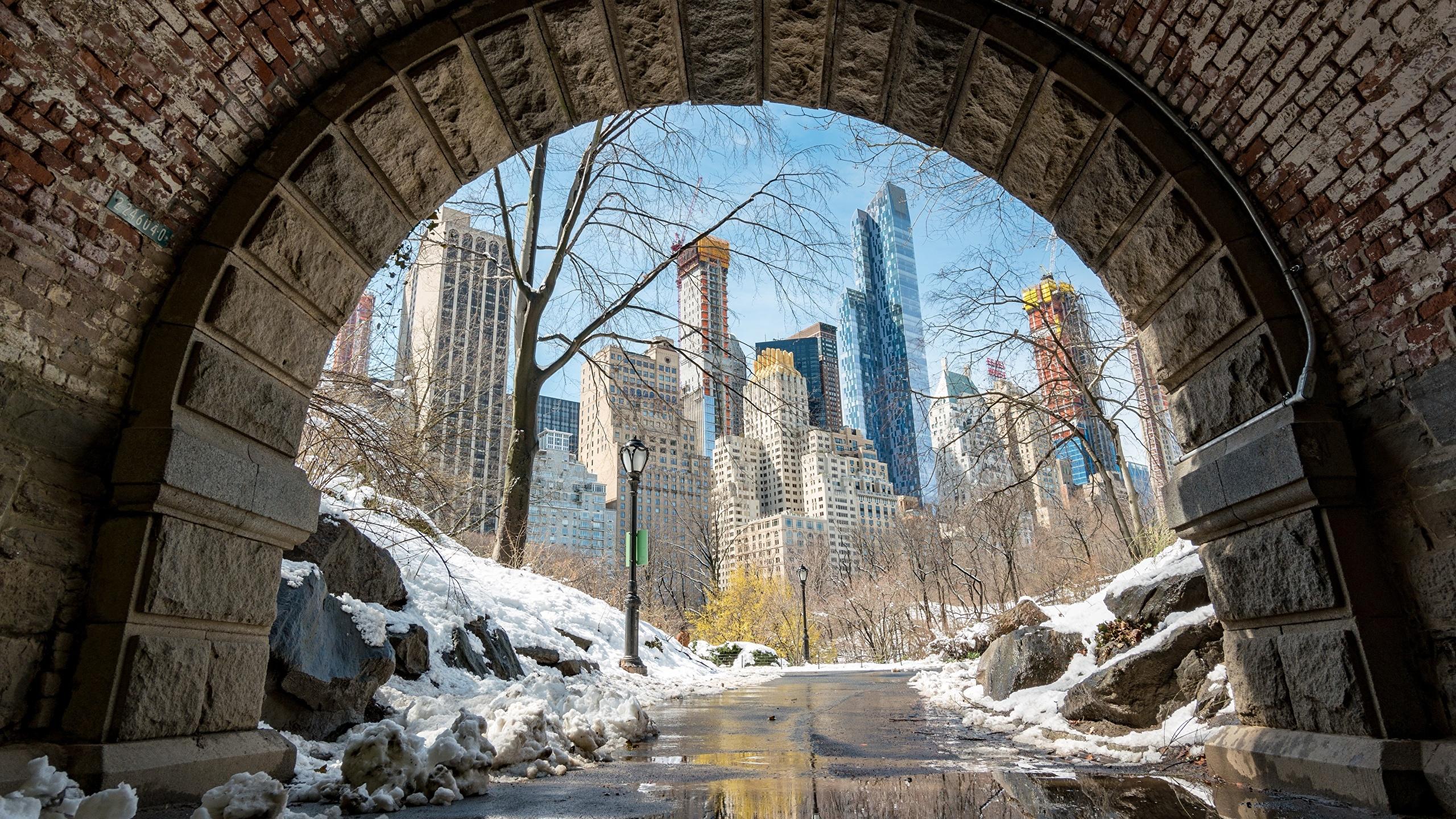 Fondos De Pantalla 2560x1440 Eeuu Manhattan Nieve Nueva