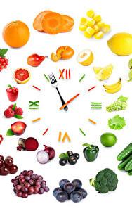 Papel de Parede Desktop Relógio Hortaliça Frutas Criativos Fundo branco Design comida