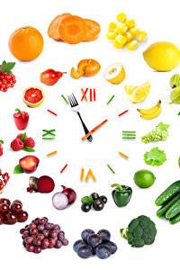 Hintergrundbilder Uhr Gemüse Obst Kreativ Weißer hintergrund Design das Essen