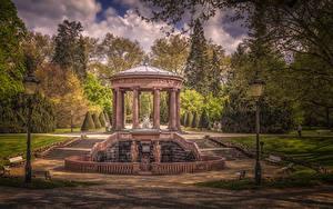 壁纸、、ドイツ、公園、彫刻、ハイダイナミックレンジ合成、街灯、木、柱、Kurpark Bad Homburg、自然