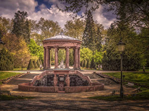 Image Germany Parks Sculptures HDRI Street lights Trees Columns Kurpark Bad Homburg Nature