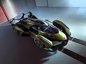 Fotos Lamborghini Von oben Grün Vision Gran Turismo 2019 Lambo V12 auto