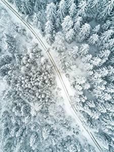 Hintergrundbilder Straße Wälder Winter Von oben Schnee Natur