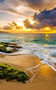 Fotos Sonnenaufgänge und Sonnenuntergänge Küste Wasserwelle USA Landschaftsfotografie Ozean Hawaii Laubmoose Wolke Strand Natur