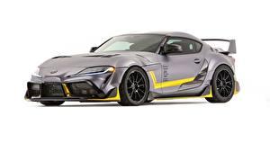 Fotos Toyota Weißer hintergrund Graues Metallisch Coupe Concept, Supra, 3000GT, 2019, GR Supra, A90 automobil