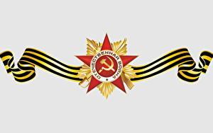 Papéis de parede Feriados Dia da Vitória 9 de maio Desenho vetorial Fundo branco Russo Ordem medalha