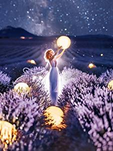 Hintergrundbilder Lavendel Acker Kugeln Nacht Kristina Makeeva Natur Mädchens