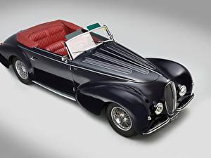 Fotos Retro Schwarz Cabrio Von oben Grauer Hintergrund 1946 Delahaye 135 Cabriolet par Graber Autos