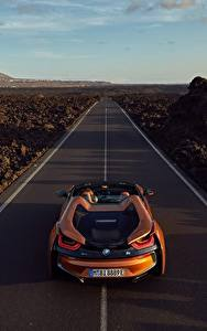 Pictures Roads BMW Orange Roadster 2018 i8 Cars