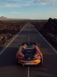 Pictures Roads BMW Orange Roadster 2018 i8 Cars