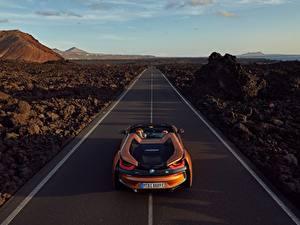 Hintergrundbilder Straße BMW Orange Roadster 2018 i8 Autos