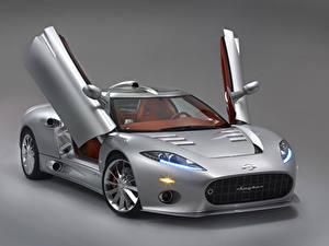 Hintergrundbilder Spyker Grauer Hintergrund Silber Farbe 2010-16 C8 Aileron Autos