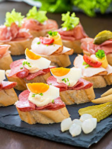 Image Fast food Butterbrot Bread Sausage Eggs