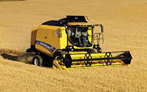 Hintergrundbilder Acker Landwirtschaftlichen Maschinen Mähdrescher 2014-19 New Holland TC5.80