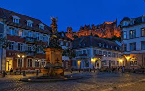 Hintergrundbilder Deutschland Haus Denkmal Abend Straße Straßenlaterne Heidelberg