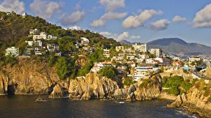 Fotos Mexiko Gebäude Küste Felsen Bucht Wolke Acapulco Städte