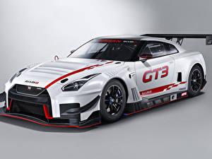 Bilder Nissan Tuning Grauer Hintergrund Weiß 2018 Nismo GT-R GT3 Autos