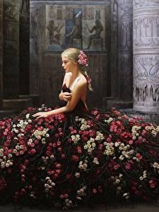 Hintergrundbilder Rosen Kleid Fantasy Mädchens