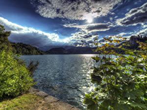 Fotos Slowenien Landschaftsfotografie See Himmel Wolke Sonne HDR