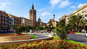Hintergrundbilder Spanien Haus Straße Straßenlaterne Rasen Valencia Städte