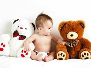 Bilder Teddybär Weißer hintergrund Säugling Sitzt kind