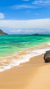 Bilder Tropen Küste Wasserwelle Steine Vereinigte Staaten Ozean Hawaii Sand Natur