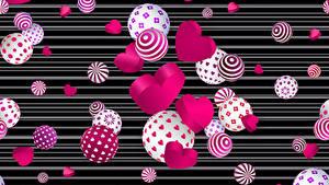 Papéis de parede Dia dos Namorados Coração Bolas