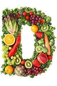 Bilder Gemüse Obst Weintraube Weißer hintergrund Design D Lebensmittel