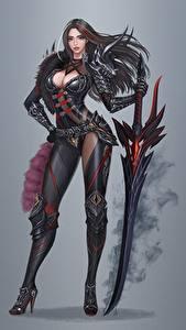 Images Warriors Gray background Swords Beautiful Brunette girl Donghun Kim Fantasy Girls