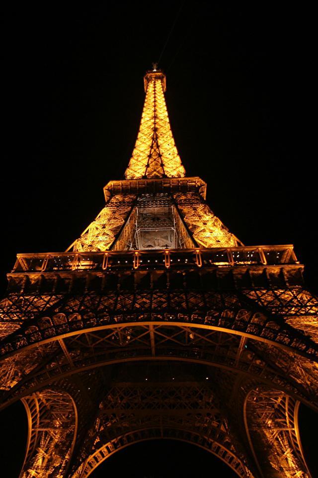 Fonds D Ecran 640x960 France Tour Eiffel Nuit Paris Vue De