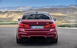 Hintergrundbilder BMW Hinten Bordeauxrot 2017 F90 M5 First Edition Autos