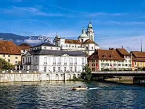Bilder Kathedrale Schweiz Flusse Haus Solothurn Städte