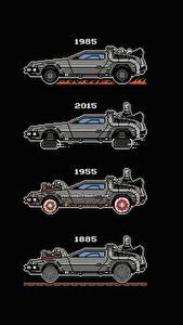 Picture DeLorean Back to the Future Black background DMC-12 by Mauru 88 MPH film Cars